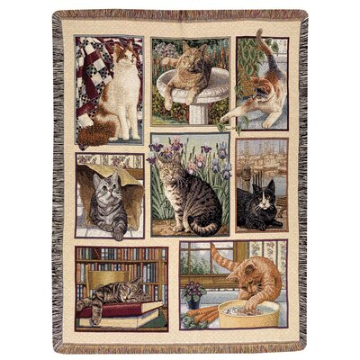 Manual Woodworkers & Weavers Kitty Corner Tapestry Cotton Throw