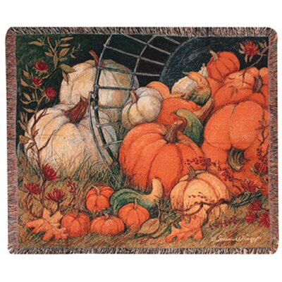 Manual Woodworkers & Weavers Pumpkin Garden Tapestry Cotton Throw