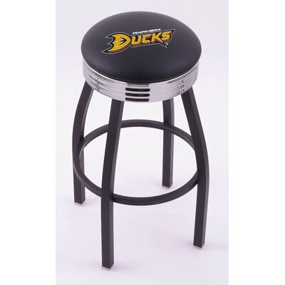 National Hocky League Single Ring Swivel Barstool with Black Base And Solid Weld Chrome Base ...
