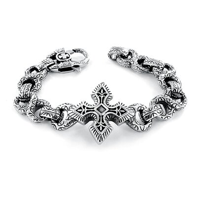 West Coast Jewelry Cast Engraved Figure 8 Links Large Celtic Cross Bracelet