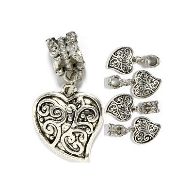 West Coast Jewelry Fancy Heart Bead Charm