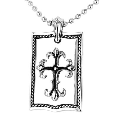 Stainless Steel Shield Cross Dog Tag Necklace