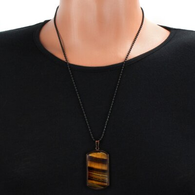 West Coast Jewelry Stainless Steel Tiger's Eye Dog Tag Necklace