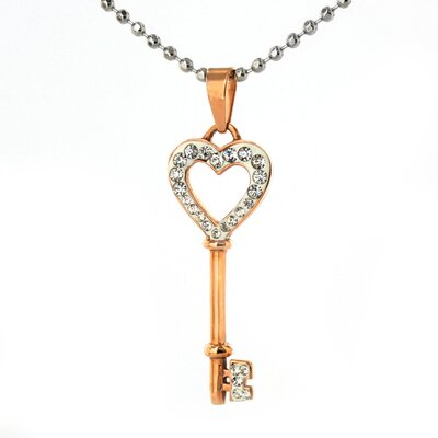West Coast Jewelry Stainless Steel Cubic Zirconia Heart Key Necklace