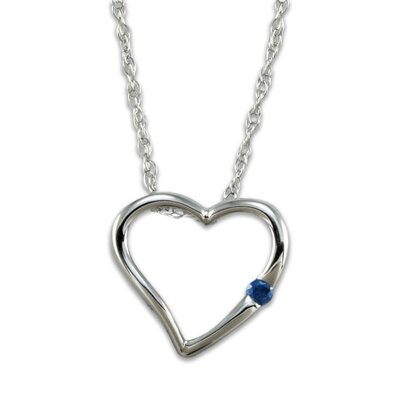 10K White Gold Blue Diamond Heart Necklace