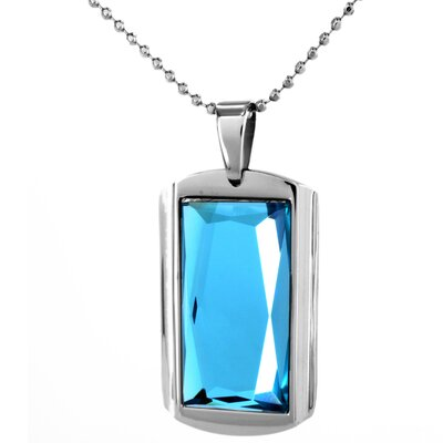 Stainless Steel Rectangular Glass Necklace