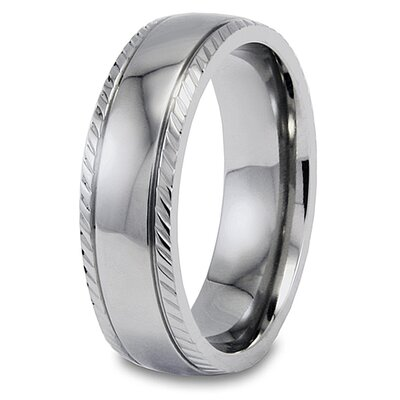 West Coast Jewelry Titanium Engraved Grooved Domed Polished Ring