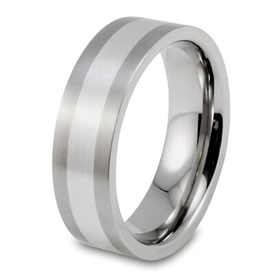 Men's Brushed Titanium Sterling Silver Inlay Ring