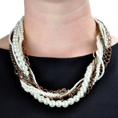 West Coast Jewelry Coppertone Chain Faux Pearl Multi-strand Necklace