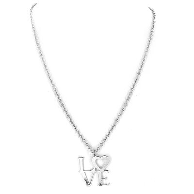 West Coast Jewelry Silvertone Love Pendant Necklace