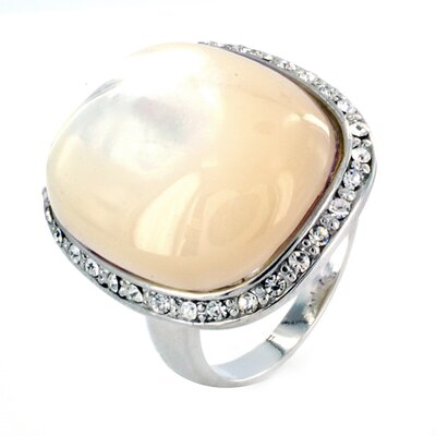 Silvertone Mother of Pearl and Cubic Zirconia Ring