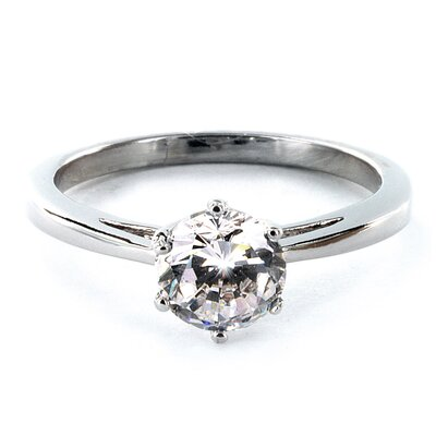 West Coast Jewelry Silvertone Round Cubic Zirconia Engagement Style Ring