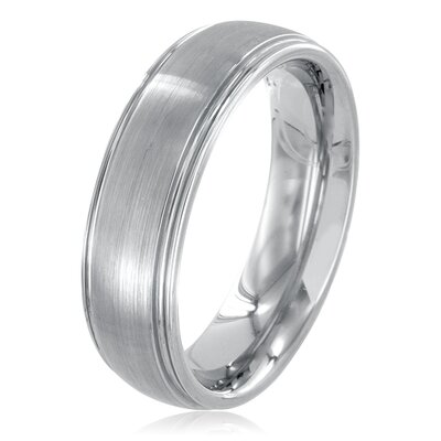 Men's Tungsten Carbide Grooved Brushed Comfort Fit Ring