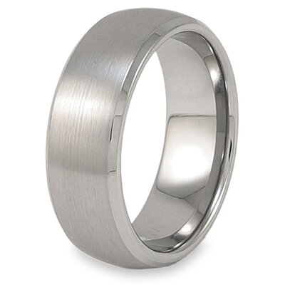 Men's Tungsten Carbide Beveled Edge Brushed Domed Comfort Fit Ring