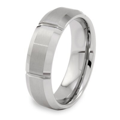 Men's Tungsten Carbide Brushed and Cross Grooved Comfort Fit Ring with Beveled Edge