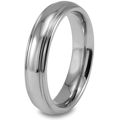 Unisex Tungsten Carbide Grooved Polished Ring