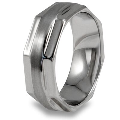 Men's Tungsten Carbide Brushed and Octagonal Ring