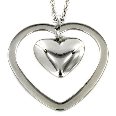 Stainless Steel Double Heart Pendant and Necklace