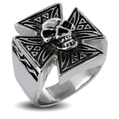 Men's Stainless Steel Iron Skull Cross Ring