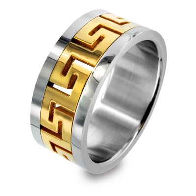 Stainless Steel Greek Key Design Ring