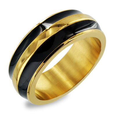 Stainless Steel and Enamel Stripe Ring