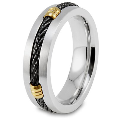 Stainless Steel Grooved Accents Band Ring