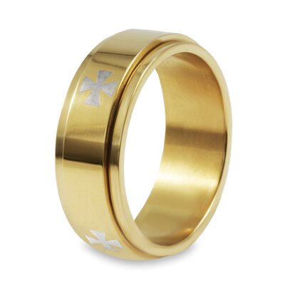 Stainless Steel Goldplated Silver Cross Band Ring