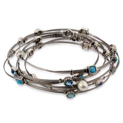 West Coast Jewelry Silvertone Gemstone Wire Bracelet Set