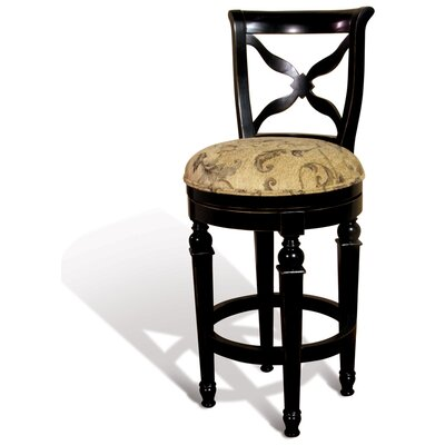 Windsor Swivel Bar Stool with Cross Back in Distressed Ebony