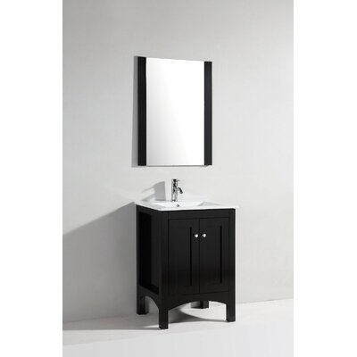"Legion Furniture 23.5"" Single Bathroom Vanity Set with Mirror in Espresso"
