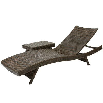 Home Loft Concept Outdoor Adjustable Lounge and Wicker Table Set
