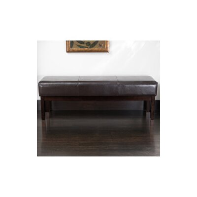 Home Loft Concept Melrose Bonded Leather Ottoman Bench in Brown