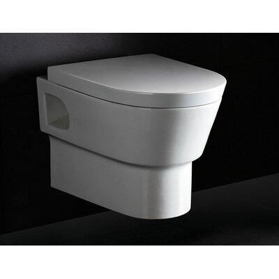 Square Modern Wall Mount 0.8 GPF / 1.6 GPF Elongated 1 Piece Toilet