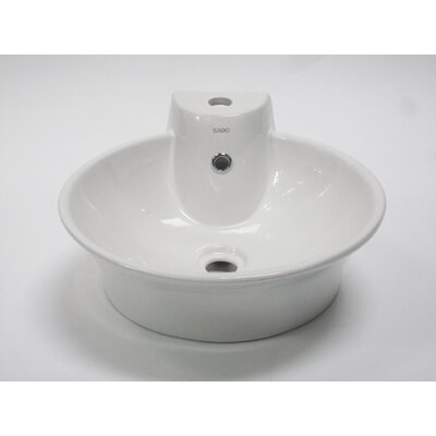 EAGO Above Mount Round Vessel Bathroom Sink with Single Faucet Hole