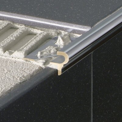 "Blanke 0.5"" Anodized Aluminum Classic Stair Nose in Satin Silver"