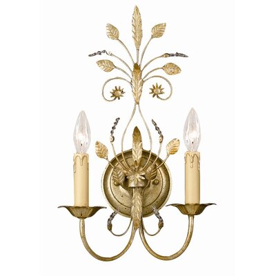 Crystorama Primrose 2 Light Crystal Candle Wall Sconce