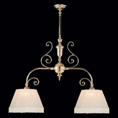 Birmingham 2 Light Kitchen Island Pendant / Billiard Light with Fabric Shade in Polished Brass ...