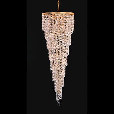 Elegance Fifteen Light Chandelier in 24K Gold Plated