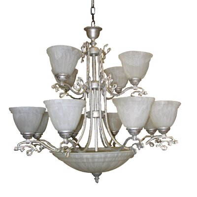 Charleston Fifteen Light Chandelier in Antique Silver