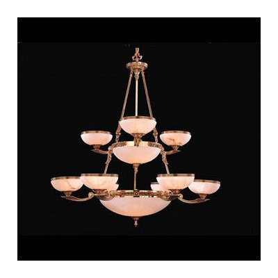 European Classic Fourteen Light Chandelier in Olde Brass