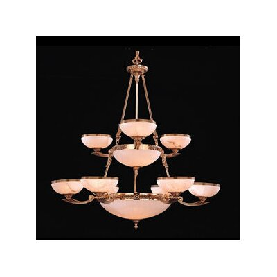 European Classic Seventeen Light Chandelier in Olde Brass