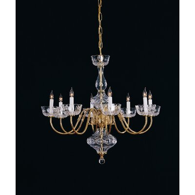 Colonial 8 Light Brass Chandelier