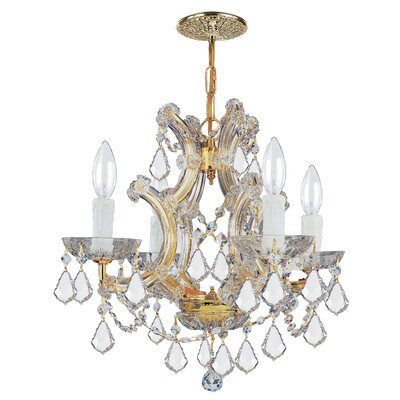 Bohemian Crystal 4 Light Candle Chandelier