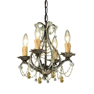 Abigail Topaz Swarovski Strass Crystal Mini Candle Chandelier in Birch