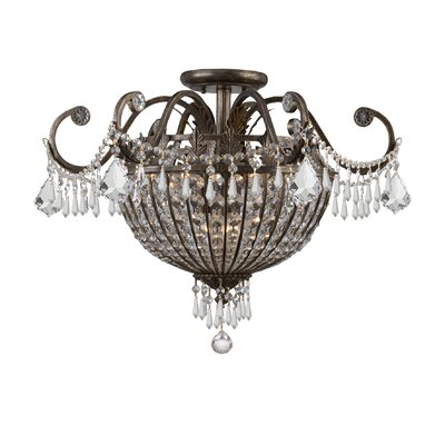 Crystorama Traditional Classic Crystal 9 Light Semi Flush Mou
