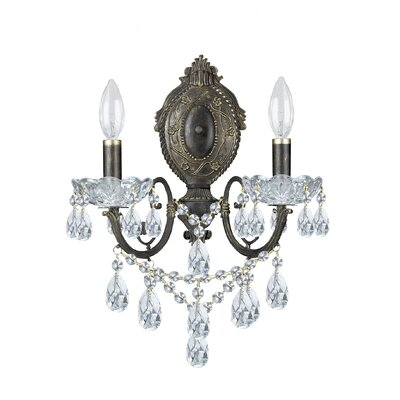 Traditional Classic 2 Light Crystal Candle Wall Sconce for Sale