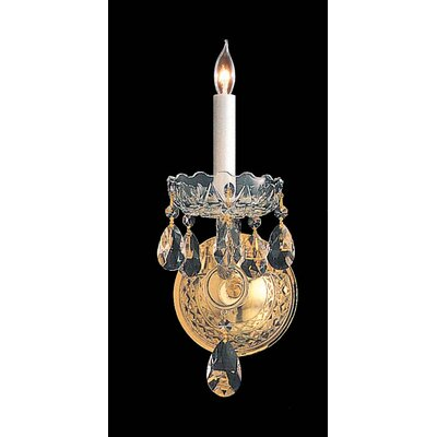 Crystorama Bohemian Crystal 1 Light Wall Sconce with Round Back Plate