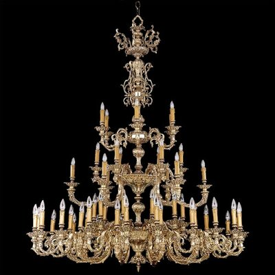 Olde World Ornate Candle Chandelier in Olde Brass with Crystal