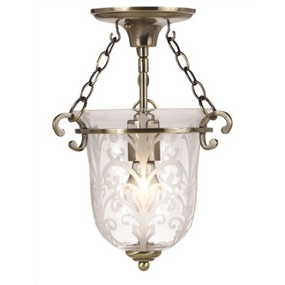 Crystorama Bell Jar 1 Light Semi Flush Mount