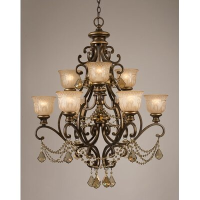 Crystorama Norwalk 9 Light Golden Teak Crystal Chandelier